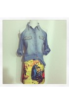 blue Denim & Diamonds Open Shoulder Shirt w Oil Painting Runway Skirt skirt