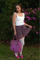 white lace top stockings - hot pink bag - white ruffle  eyelet blouse
