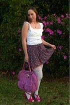 white lace top stockings - hot pink bag - white ruffle  eyelet blouse