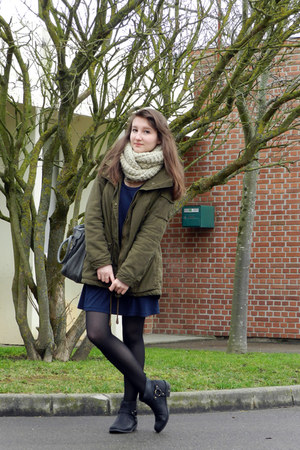 black Pimkie boots - navy etam dress - dark green H&M coat