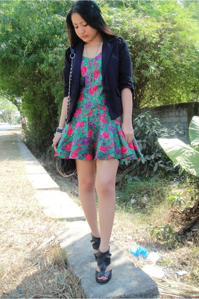 black random from Hong Kong blazer - green Victorias Secret dress - black custom