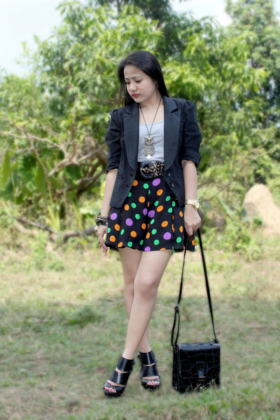 black cut out shoe boots - black blazer - black bag - black polka dot shorts - g