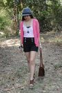 Pink-thrifted-cardigan-black-pazzo-shorts-brown-pvc-purse-gray-from-a-baza