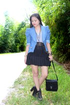 black tulle skirt - sky blue denim blazer - black bag - black cross necklace