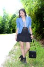 Sky-blue-denim-blazer-black-bag-black-lace-up-boots-heels-black-tulle-skir