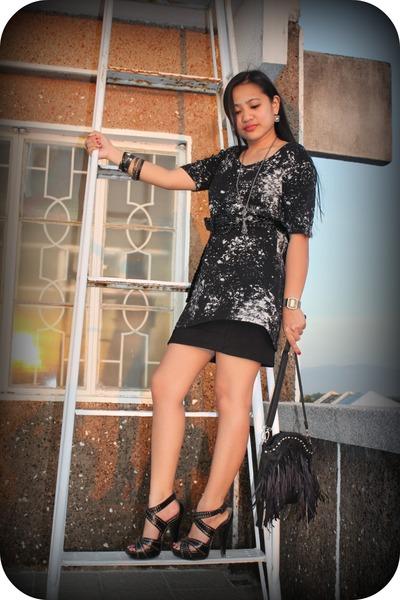 fringe bag - studded heels - acid washed t-shirt - skirt - cross necklace neckla