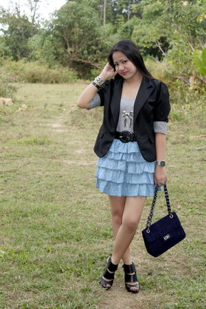 black blazer - navy chain bag - black heels - sky blue ruffled skirt - silver di