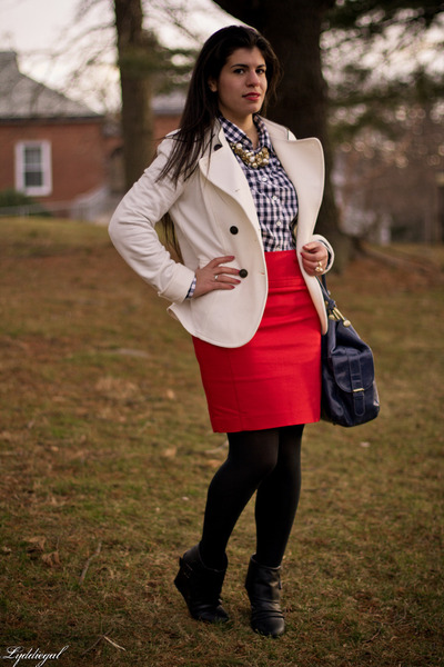 gingham JCrew top - wedge Madden Girl boots - Express blazer - big buddha bag