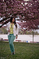 yellow TJ Maxx sweater - aquamarine lauren conrad kohls jeans