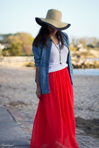 carrot orange Sheinside skirt - neutral Dorfman Pacific hat - white TJMaxx shirt