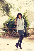 heather gray Gap sweater - dark gray striped NY&CO skirt - deep purple birdcage
