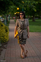 dark brown leopard calvin klein dress - olive green free people jacket
