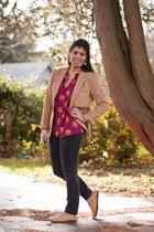 maroon tucker Target top - camel vintage blazer - yellow Mia flats