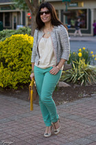 silver kohls jacket - aquamarine kohls jeans - cream Jcrew shirt