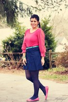 hot pink free people top - navy TJMaxx skirt - hot pink Bakers flats