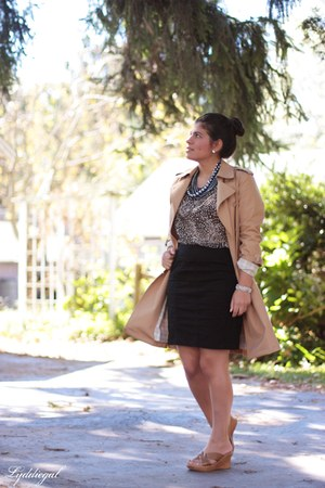 trench London Fog coat - H&M skirt - leopard TJMaxx top - onex sandals