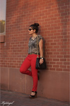 red Urban Outfitters pants - leopard TJMaxx shirt - black quilted thrifted bag