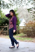 deep purple kohls cardigan - deep purple poetic licence flats - hot pink floral