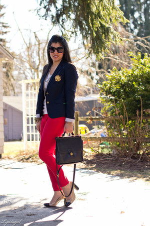 navy Gap blazer - black coach bag - white Gap top