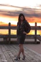 horse print H&M shirt - me too shoes - motorcycle Target jacket - TJMaxx skirt