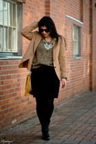 black Madden Girl boots - camel leopard calvin klein sweater - vintage blazer