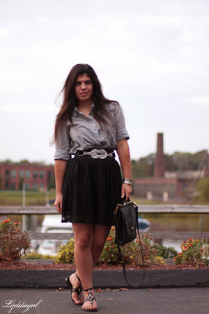 black vintage coach bag - black lace up TJMaxx skirt - JCrew top