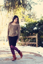 tawny jessii Steve Madden boots - camel leopard calvin klein sweater - magenta n