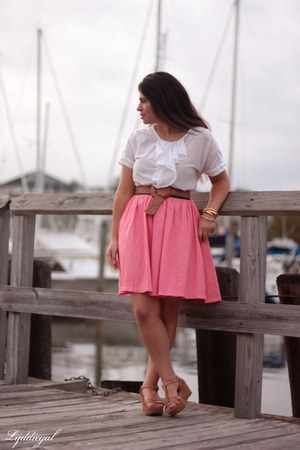 bubble gum handmade skirt - brown Ciao Bella sandals - white ruffled Gap top