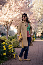 yellow Mia shoes - camel London Fog coat - yellow Zara bag - salmon Gap blouse