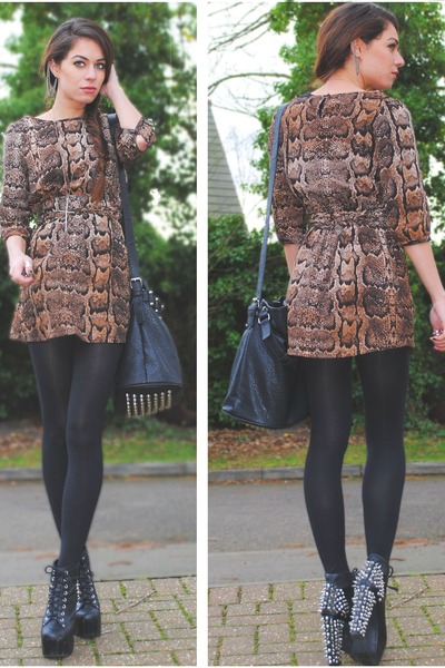 light brown H&M dress - black select bag - black Jeffrey Campbell heels