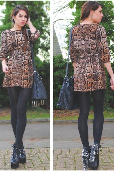 light brown H&M dress - black select bag - black Jeffrey Campbell heels
