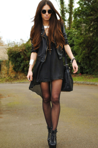 black lavish alice dress - black Topshop jacket - black select bag