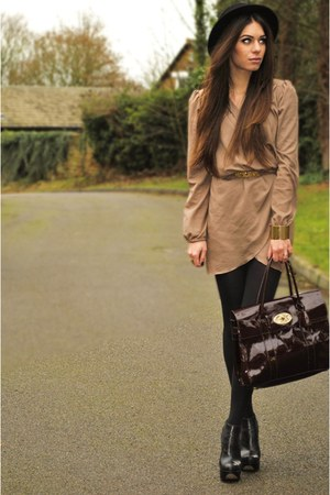 camel Love dress - black H&amp;M hat - crimson Mulberry bag
