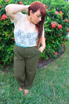 beige Forever 21 shirt - blue belt - pants - Anne Klein shoes - street vendor on