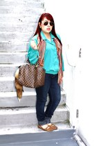 Louis Vuitton purse - vintage blouse - leather Anne Klein loafers