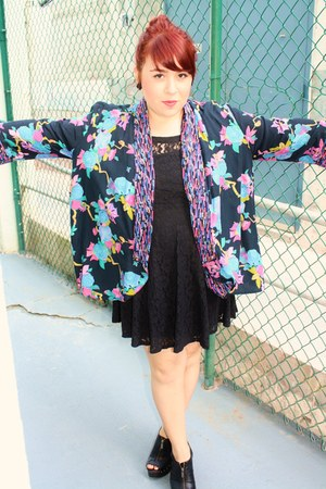 vintage blazer - lace vintage dress - clogs