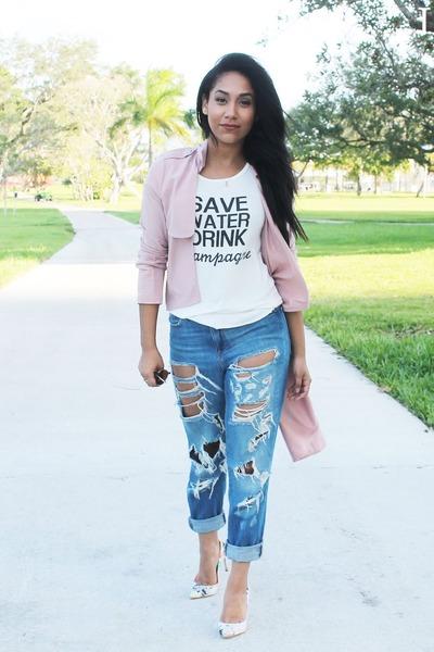 light pink trench coat Forever 21 blazer - blue boyfriend jeans Forever 21 jeans