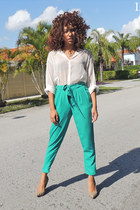white chiffon Nasty Gal blouse - aquamarine trousers Forever 21 pants