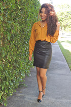 black leather Forever 21 skirt - mustard thrifted top - black unknown heels