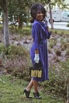 black oxfords unknown heels - blue thrifted dress - white unknown gloves
