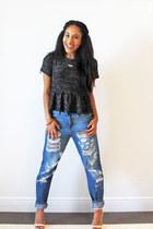 navy boyfriend jeans Forever 21 jeans - gray peplum IfChic top
