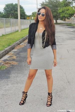 black unknown blazer - silver bodycon Nasty Gal dress - black lace GoJane heels