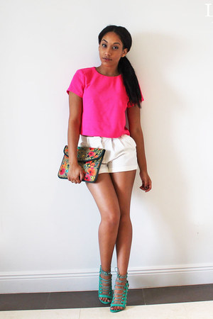 hot pink IfChic top - turquoise blue clutch Target bag - white Madrag shorts