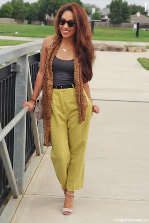 lime green thrifted pants - beige Aldo shoes - bronze Claires scarf