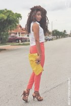 yellow unknown bag - bubble gum Forever 21 pants - bronze unknown heels