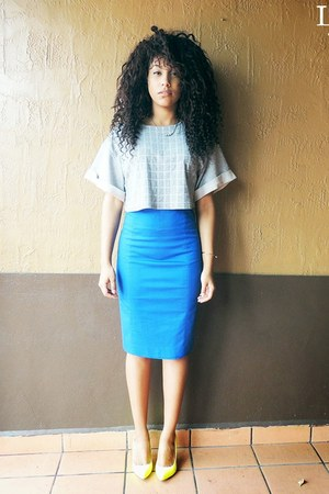 blue pencil skirt Express skirt - silver crop top unknown top