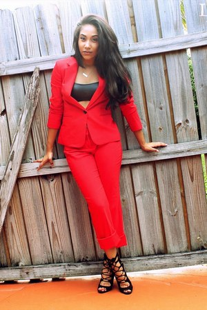 red monochrome Express suit