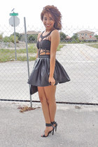black cropped Nasty Gal top - black leather unknown skirt - black unknown heels