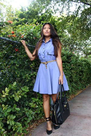 black leather 31 Phillip Lim bag - sky blue chambray Le Tote dress
