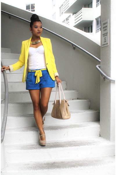 yellow Zara blazer - gold Aldo bag - blue Forever 21 shorts
